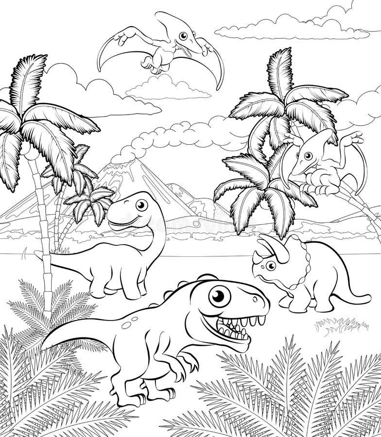 Dinosaurier-Karikatur-prähistorische Landschaftsszene vektor abbildung