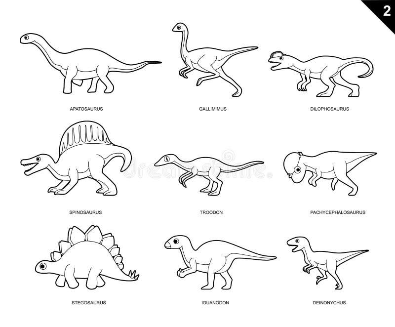 Dinosaurier-Malbuch-Karikatur-Vektor-Illustration Stellte 2 Ein ...