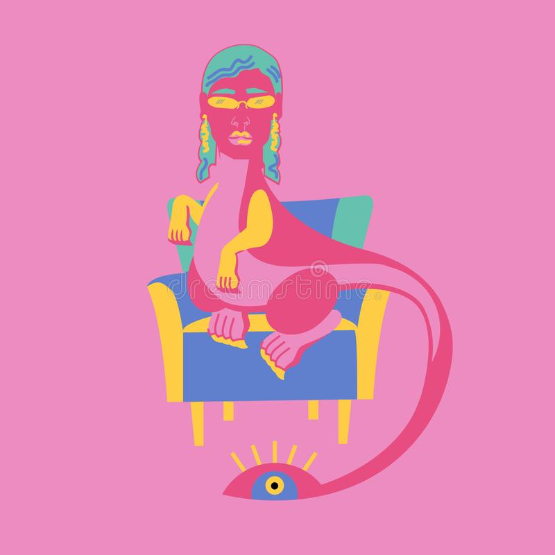 Dinosaurier mit dem Kopf einer Frau mit dem blauen Haar und den Gläsern Sitzen auf einem blauen Lehnsessel stockfotografie