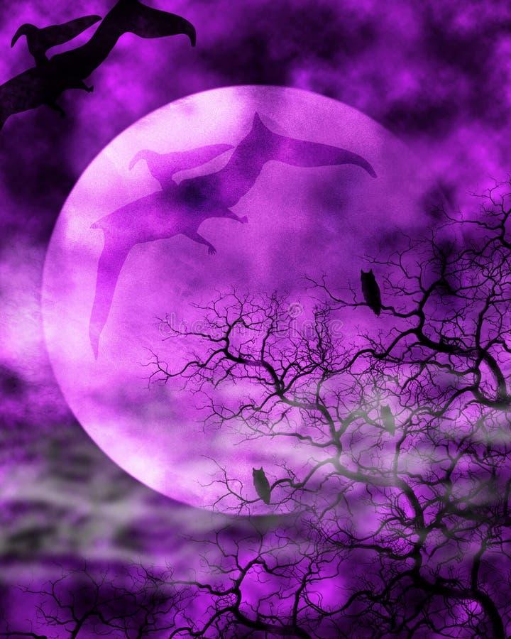 Dinosaurier-Mond-Hintergrund lizenzfreie abbildung