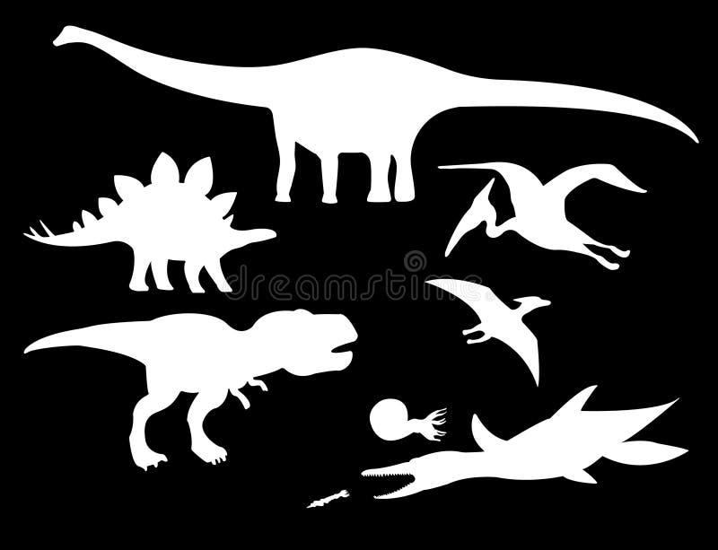 Dinosaurier och Jurassic dino monstersymboler vektor illustrationer