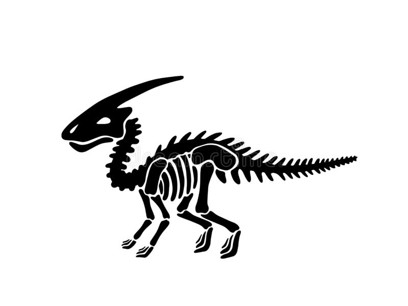 Dinosaurier parasaurolophus Skelett Auch im corel abgehobenen Betrag vektor abbildung