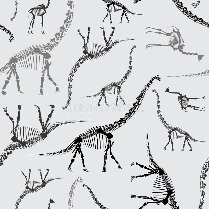 Dinosaurier-Skeleton nahtloses Muster in den Graun lizenzfreie abbildung