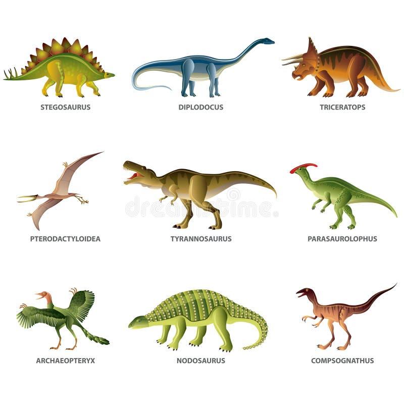 Dinosaurier som isoleras på den vita vektoruppsättningen stock illustrationer