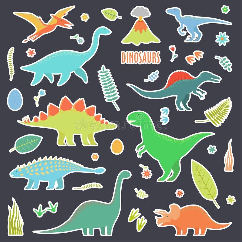 Dinosaurier ställde in för klistermärkear Dinosaurier ställde in för klistermärkear Typer av dinosaurier stock illustrationer