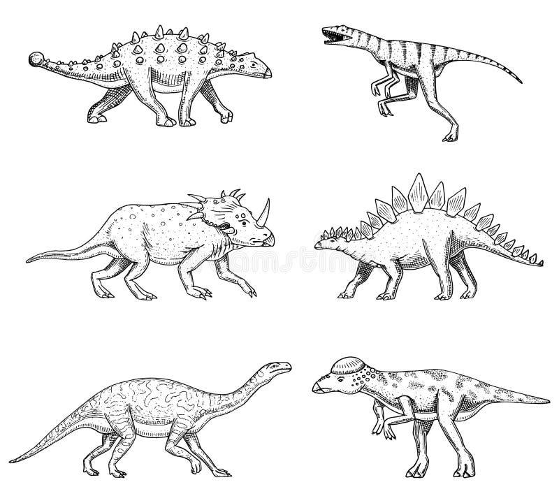 Dinosaurier ställde in, triceratopsen, barosaurusen, den breda ödlan, stegosaurusen, Pachycephalosaurus, diplodocusen, Ankylosaur royaltyfri illustrationer