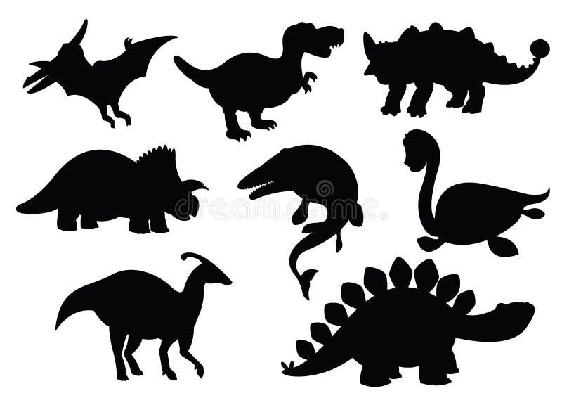 Dinosaurier und Jurassische Dino-Monster Icons Silhouette stock abbildung