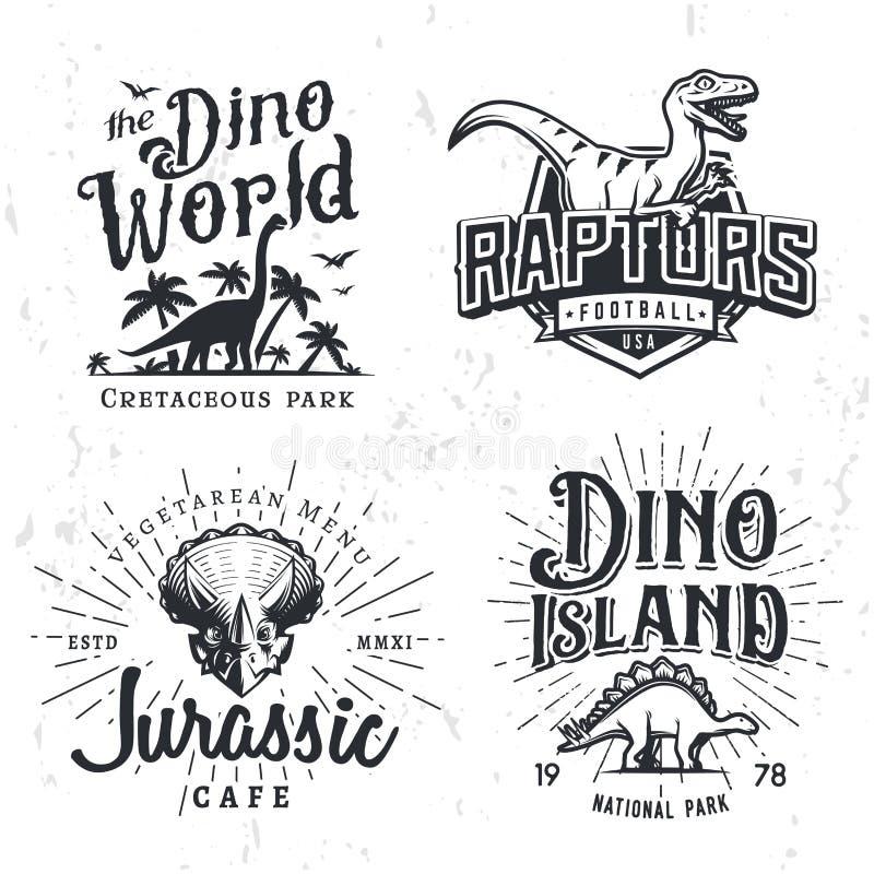 Dinosaurier-Vektor Logo Set Triceratopst-shirt Illustrationskonzept Raubvogelcollege-Sportteam-Insigniendesignschablone stockfotografie
