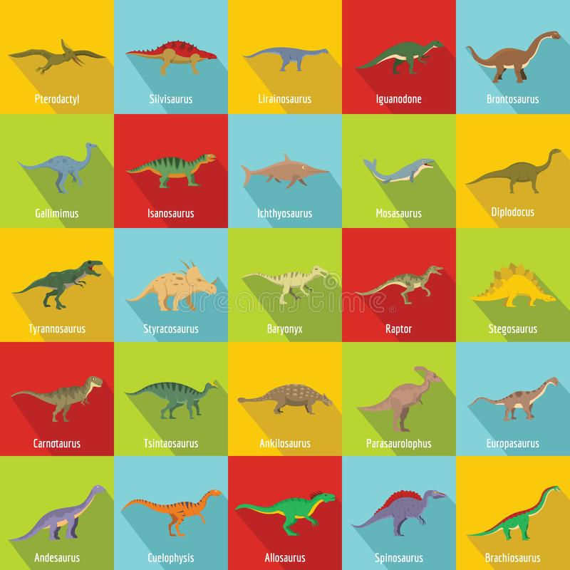 Dinosaurierarten unterzeichnete Namenikonen stellten, flache Art ein lizenzfreie abbildung