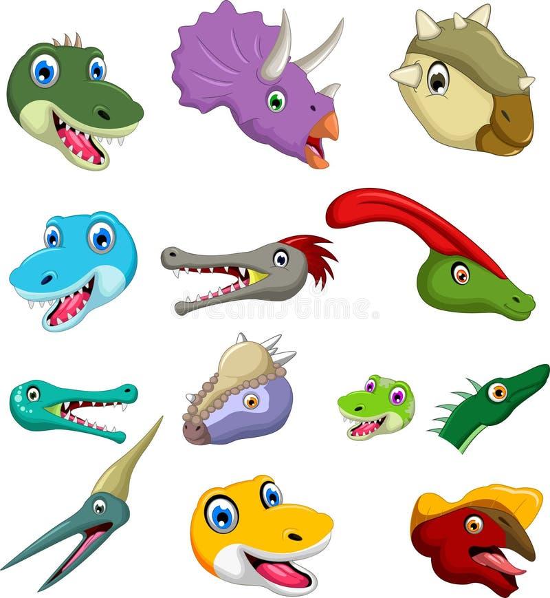 Dinosaurierentwerfen Hauptkarikatur-Sammlungssatz für Sie stock abbildung