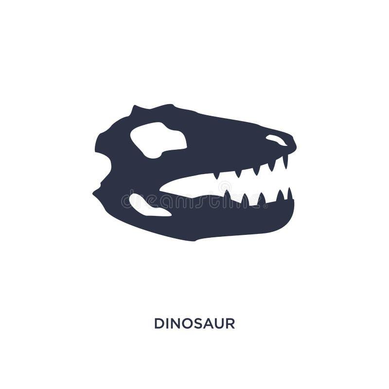 Dinosaurierikone auf weißem Hintergrund Einfache Elementillustration vom Geschichtskonzept lizenzfreie abbildung
