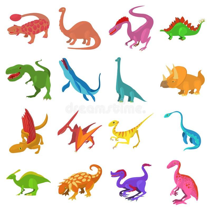 Dinosaurierikonen eingestellt, Karikaturart lizenzfreie abbildung