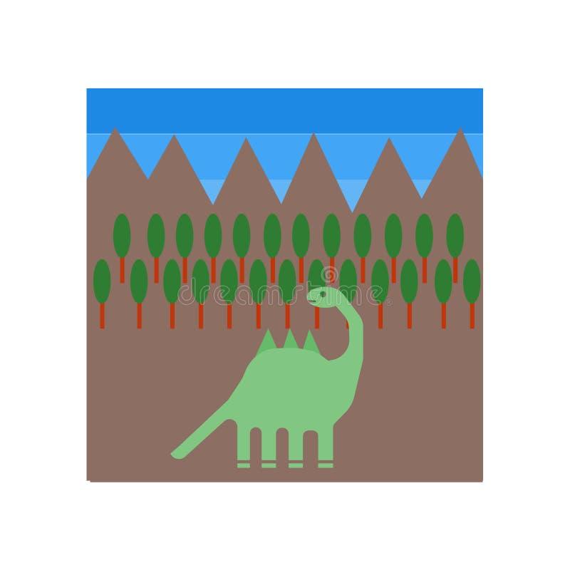 Dinosaurierikonenvektor lokalisiert auf weißem Hintergrund, Dinosaurierzeichen, historische Steinzeitaltersymbole lizenzfreie abbildung