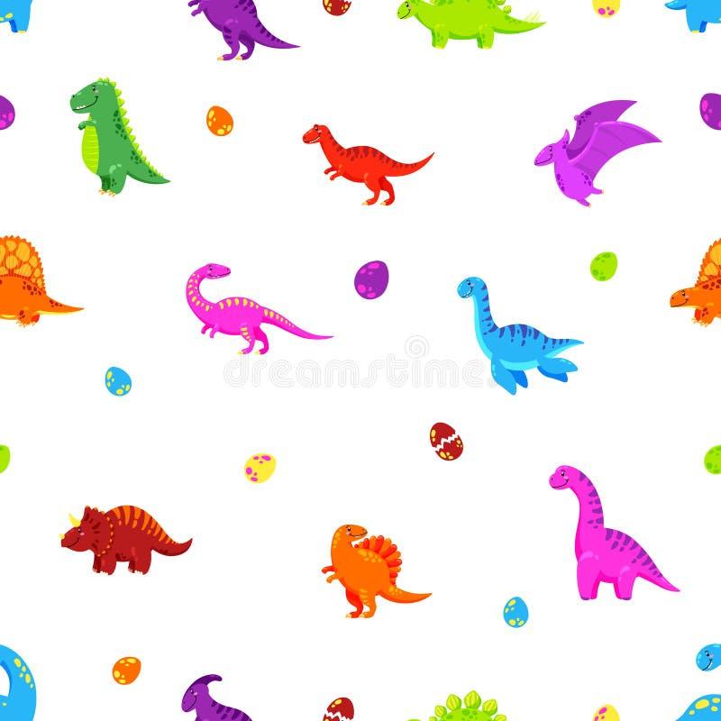 Dinosaurierkarikatur-Vektorhintergrund Nahtloses Muster, Beschaffenheit, Tapete lizenzfreie abbildung