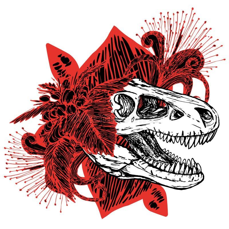 Dinosaurierkopf von turex Schädel und Rot mit schwarzen Blumen lizenzfreie abbildung