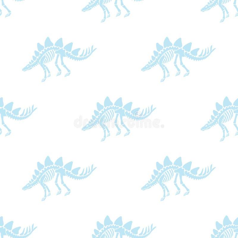 Dinosaurierskelett und -fossilien Vector nahtloses Muster vektor abbildung