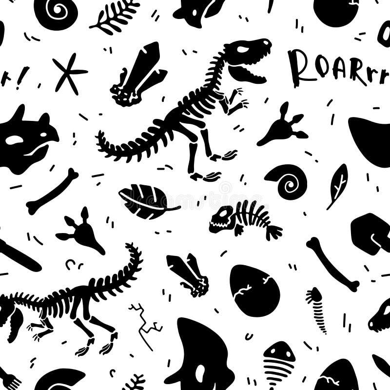 Dinosaurierskelett und -fossilien Vector nahtloses Muster lizenzfreie abbildung