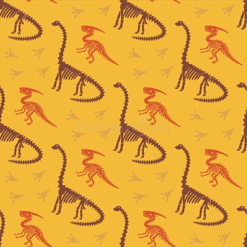 Dinosaurierskelett und -fossilien Vector nahtloses Muster Urspr?nglicher Entwurf mit parasaurolophus, Diplodocus und Spuren vektor abbildung