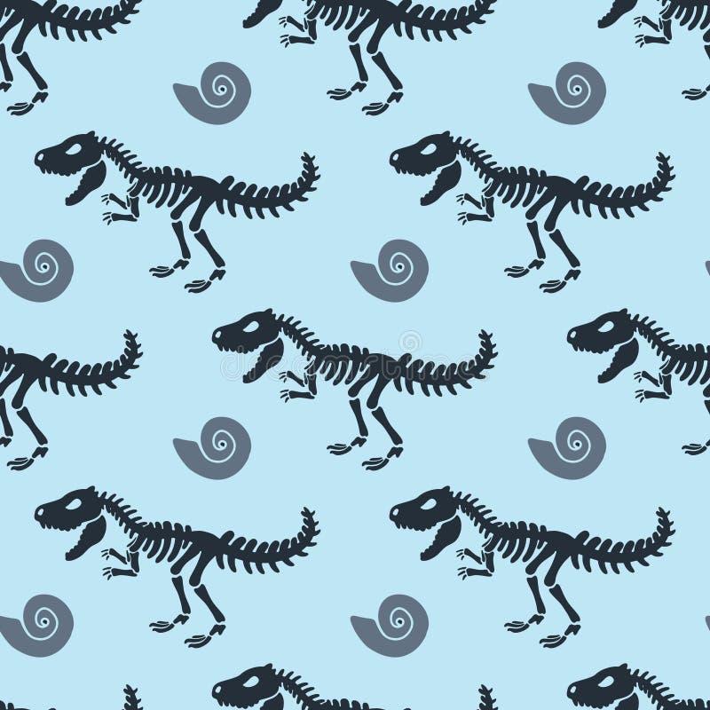 Dinosaurierskelett und -fossilien Vector nahtloses Muster stock abbildung