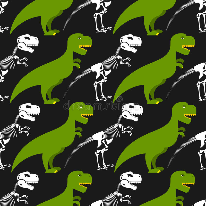 Dinosaurierskelett und nahtloses Muster stock abbildung