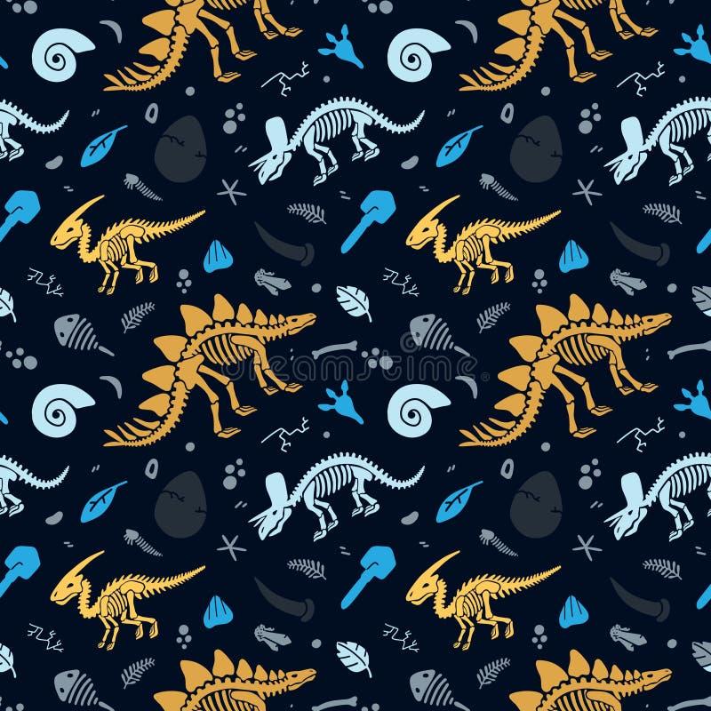Dinosaurierskelette und -fossilien Vector nahtloses Muster lizenzfreie abbildung