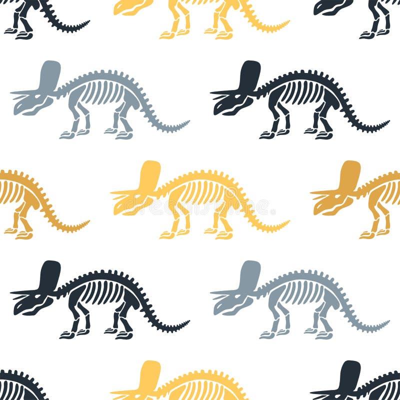 Dinosaurierskeletttriceratops und -fossilien Vector nahtloses Muster stock abbildung