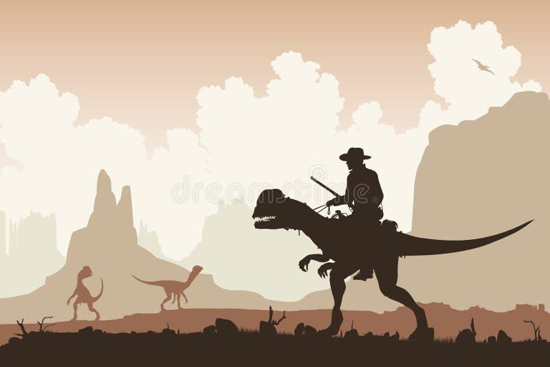 Dinosaurieryttare royaltyfri illustrationer