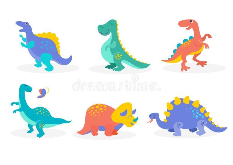 Dinosauriesamling, gulliga illustrationer av förhistoriska djur stock illustrationer
