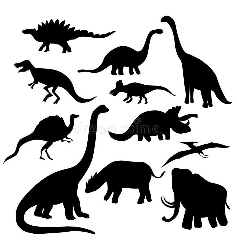 Dinosauriesilhoutte Uppsättning av dinosaurievektorillustrationen vektor illustrationer