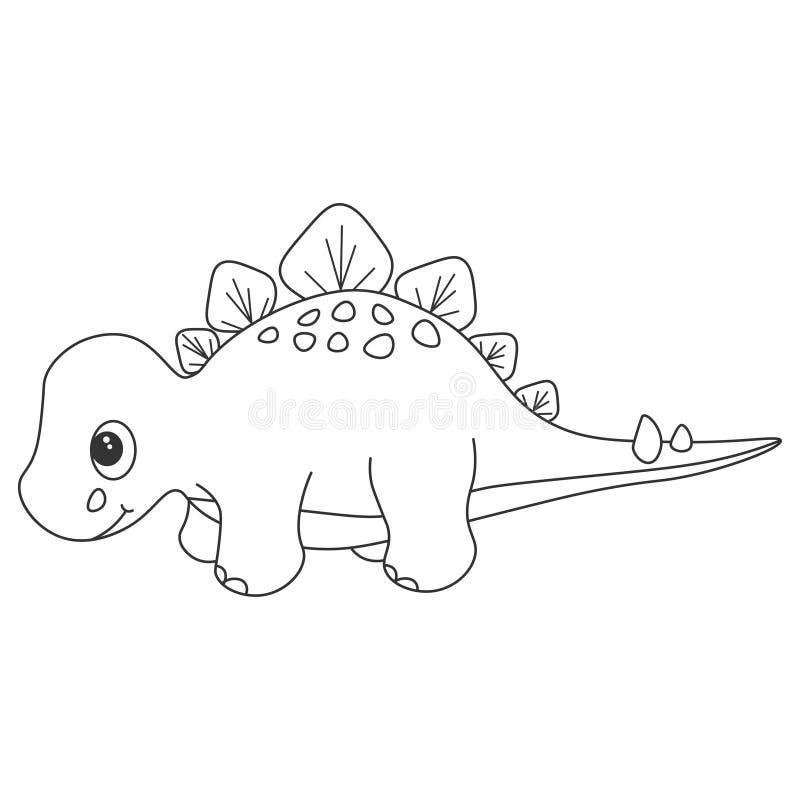 Dinosauriestegosauruskontur Tecknad filmnatur royaltyfri illustrationer