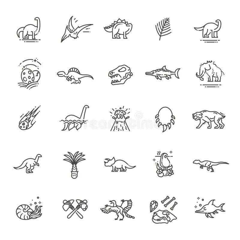 Dinosauriesymbolsvektor Dinosaurieägg och vulkan, dinosaurieskelett och tyrannosariesymboler stock illustrationer