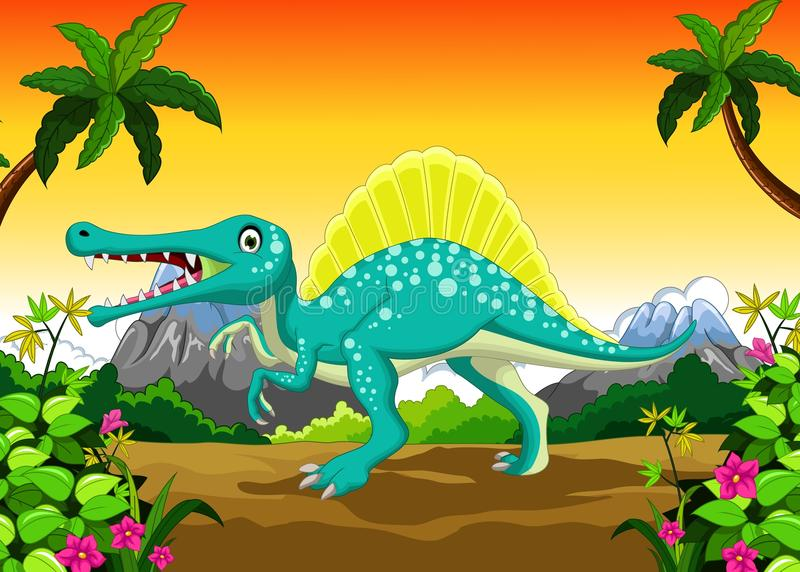 Dinosaurietecknad film i djungeln royaltyfri illustrationer