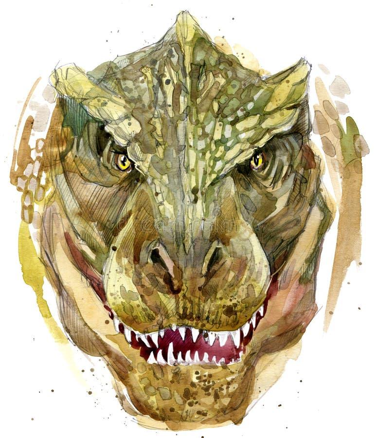 Dinosaurieteckningsvattenfärg stock illustrationer
