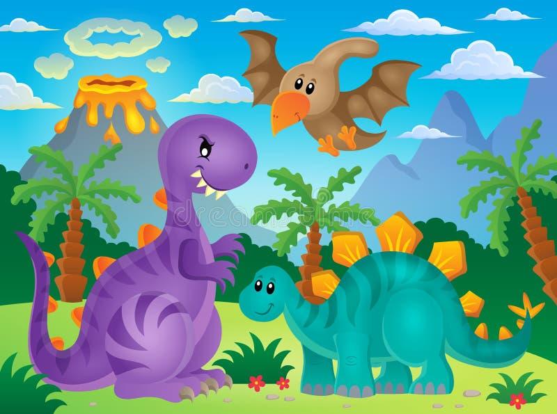 Dinosaurietemabild 3 royaltyfri illustrationer