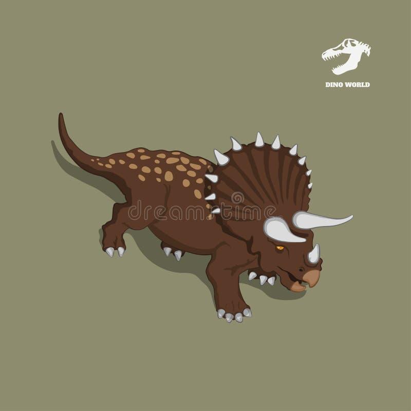 Dinosaurietriceratops i isometrisk stil Isolerad bild av det jurassic monstret Tecknad filmdino 3d symbol royaltyfri illustrationer