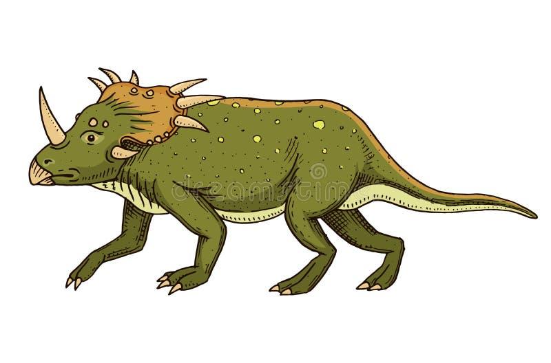 DinosaurieTriceratops, skelett, fossil Förhistoriska reptilar, djur den inristade handen som dras i gammalt, skissar royaltyfri illustrationer