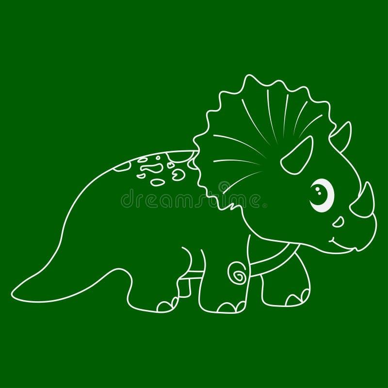 Dinosaurietriceratopskontur royaltyfri illustrationer