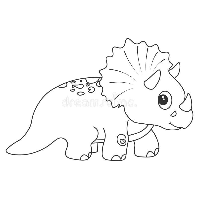 Dinosaurietriceratopskontur Tecknad filmnatur royaltyfri illustrationer