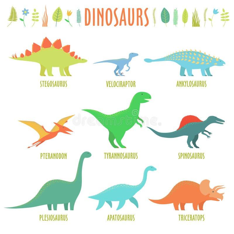 Dinosaurietyper vektor illustrationer