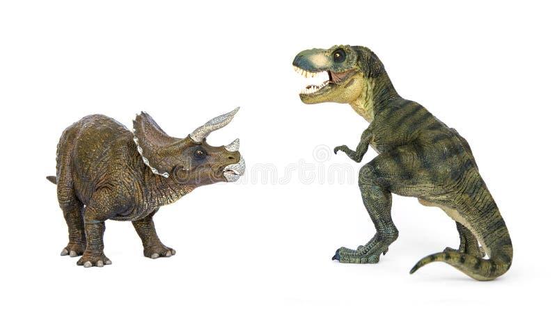 Dinosaurietyrannosarie och Triceratops arkivbilder