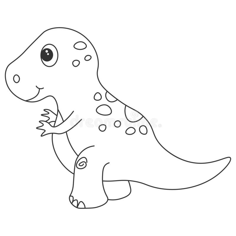 Dinosaurietyrannosaurkontur Tecknad filmnatur vektor illustrationer