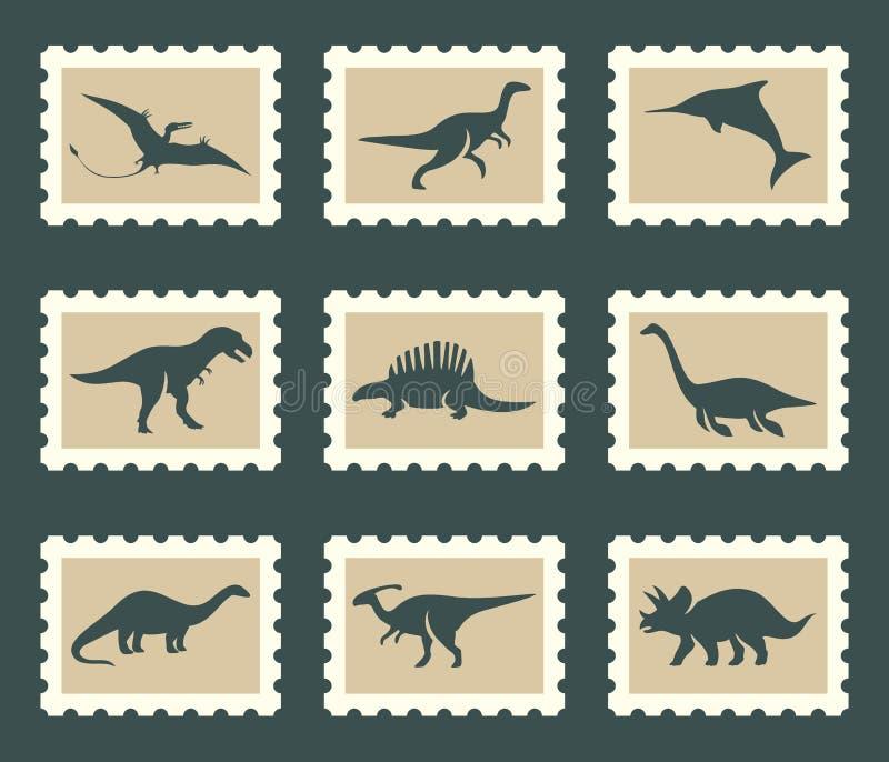 Dinosaurieuppsättning royaltyfri illustrationer