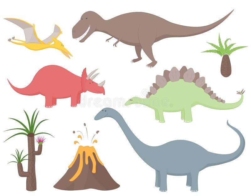 Dinosaurieuppsättning med tyrannosarien Rex, stegosaurusen, triceratopsen, diplodocusen, Pteradactyl, förhistoriska växter och vu vektor illustrationer