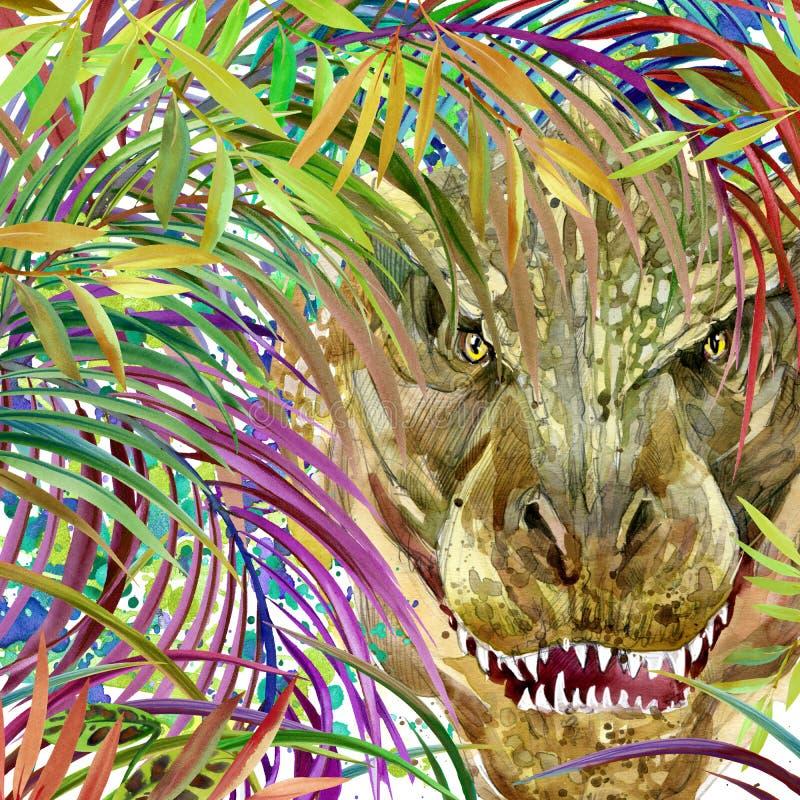 Dinosaurievattenfärg Dinosaurie tropisk exotisk dinosaurie för skogbakgrundsillustration royaltyfri illustrationer