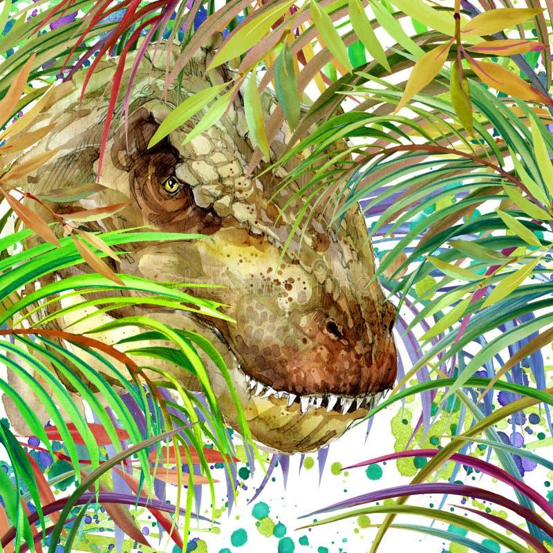 Dinosaurievattenfärg Dinosaurie tropisk exotisk dinosaurie för skogbakgrundsillustration vektor illustrationer