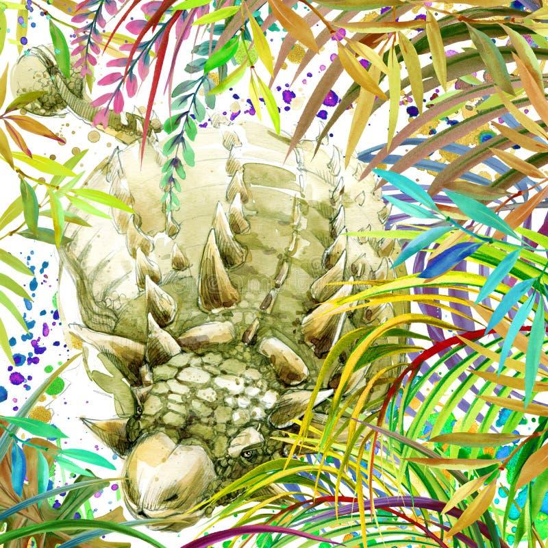 Dinosaurievattenfärg Dinosaurie tropisk exotisk dinosaurie för skogbakgrundsillustration stock illustrationer