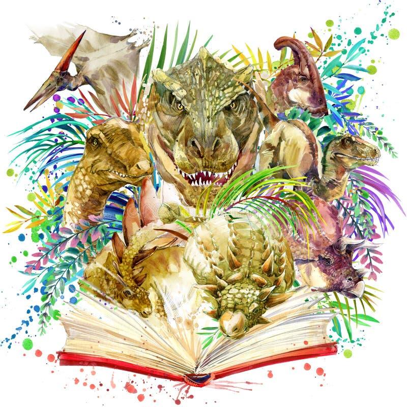 Dinosaurievattenfärg Dinosaurie tropisk exotisk skogbakgrund, bok, illustrationdinosaurie vektor illustrationer