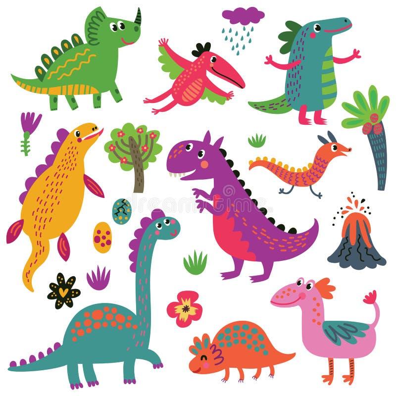 Dinosaurievektoruppsättning stock illustrationer