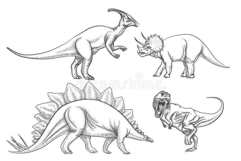 Dinosaurievektoruppsättning illustratören för illustrationen för handen för borstekol gör teckningen tecknade som look pastell ti stock illustrationer