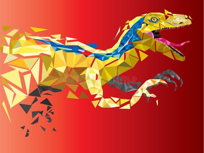 DinosaurieVelociraptor i geometrisk modellstil 10 eps royaltyfri illustrationer
